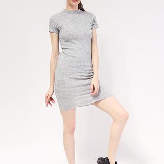 Mock neck shortsleeve Knit dress from Topmanila Clothing (Light Gray)