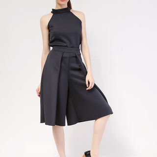Terno Black Haltered Top and Culottes in Neo Prene Fabric from Topmanila Clothing (Black)