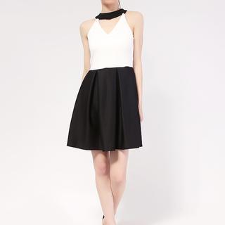 White Pearl Choker dress in Neo Prene Fabric from Topmanila Clothing (White Upper and Black Combi)