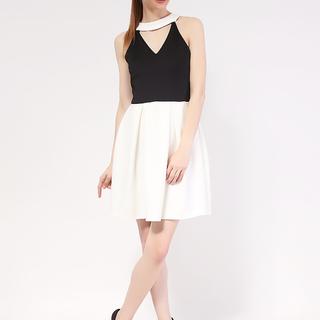 Black Pearl Choker dress in Neo Prene Fabric from Topmanila Clothing (Black Upper and White Combi)