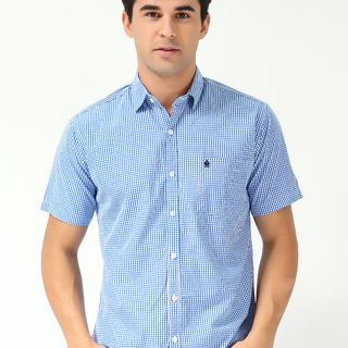 FRENCH CONNECTION MEN'S SHORT SLEEVE WOVEN WITH COLLAR BLUE-WHITE (69978)