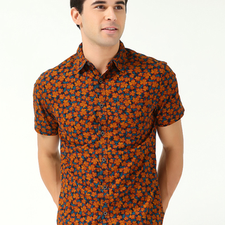 CACTUS MEN'S SHORT SLEEVE WOVEN WITH COLLAR ORANGE (69568)