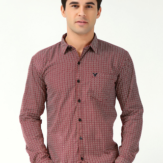 AMERICAN EAGLE MEN'S LONG SLEEVE WOVEN WITH  COLLAR RED (70092)