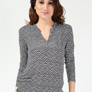 H&M LDS LONG SLEEVE KNITS V NECK BLACK-WHITE (61277)
