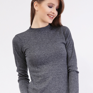 France Close neck Knit Long Sleeve Top from Topmanila Clothing (Charcoal Grayl)