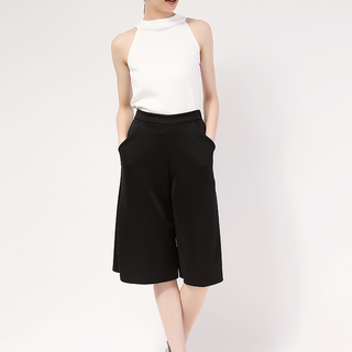 White Pearl Haltered Top and Black Culottes with side pocket from Topmanila Clothing (White Top and Black Culottes)