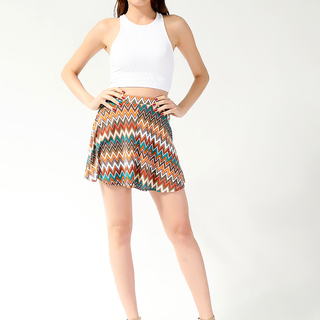 YESSICA LDS SKATER SKIRT ORANGE-GREEN (SHP61263)