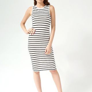 FOREVER 21 LDS STRIPED  DRESS CREAM-BLACK (61616)