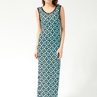 FOREVER 21 LDS MAXI  DRESS BLUE-BLACK (61636)