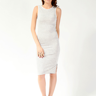 FOREVER 21 LDS STRIPED  DRESS CREAM-GRAY (61617)