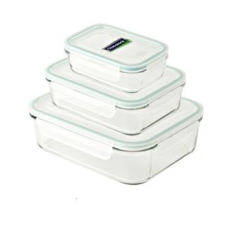 Glasslock Rectangle Type Food Keeper, 3-piece Set (400ml, 1000ml and 2000ml) - GL135