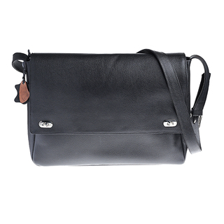 Our Tribe 796 Unisex Leather Messenger Bag (Black)