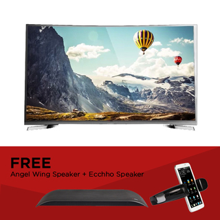 "EZY 55"" SMART CURVED 4K TV with FREE Angel Wing and Ecchho Speaker (OPTION C)"