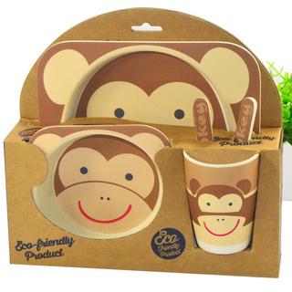 YOOKIDOO Bamboo Fibre Kid's Picnic Set Monkey (PP-YOOKIDOO-PICNIC-MONKEY)