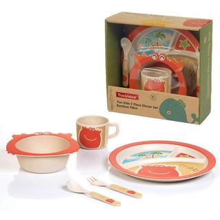 YOOKIDOO Bamboo Fibre Fun Kids 7-Piece Dinner Set Crab (PP-YOOKIDOO-DINNER-CRAB)