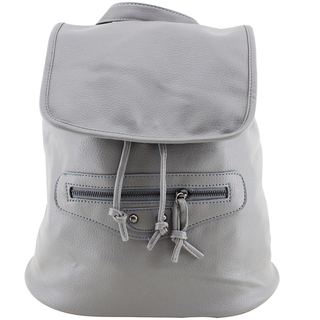 Leather Backpack with Flap (Gray)