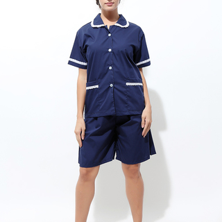 CULOTTES AND BABY COLLAR BLOUSE WITH WHITE PIPING