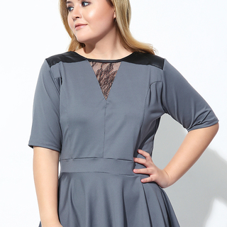 LACE INSET PEPLUM TOP (Light Gray)