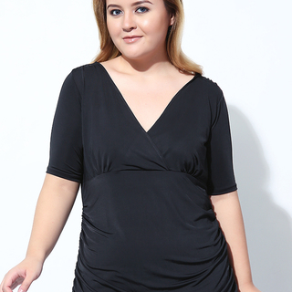 WRAP TOP WITH SIDE RUCHING (Black)