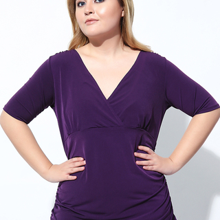 WRAP TOP WITH SIDE RUCHING (Deep Purple)