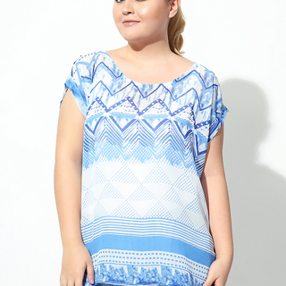 CUFFED EXTENDED SLEEVES TOP (Blue Triangles)