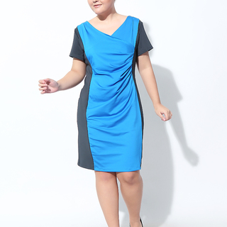 COLOR BLOCK SHEATH DRESS (Dark Gray/ Royal Blue)