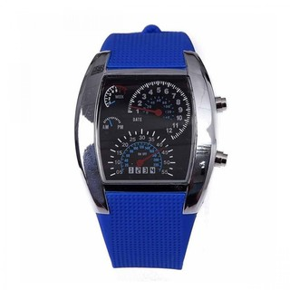 Generic Casual Water Resistant LED Metal Speedometer Watch - Blue (LGGEN00001BLU-0002966)