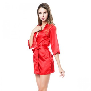 Generic Silk Lingerie Babydoll Bath Robe Nighties Set - Red (LGGEN00001RED-0003177)