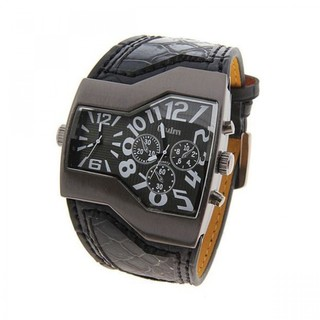 Oulm Military Men's Watch with Dual Movt Dial Leather - Black (LGOLMHP122BLK-0003287)