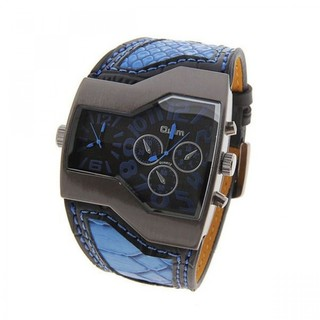 Oulm Military Men's Watch with Dual Movt Dial Leather - Blue (LGGENHP122BLU-0003288)