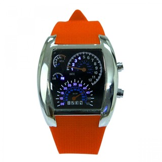 Generic Casual Water Resistant LED Metal Speedometer Watch - Orange   (LGGEN00001ORG-0002967)