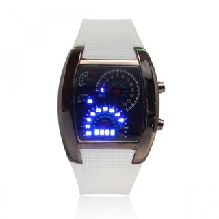 Generic Casual Water Resistant LED Metal Speedometer Watch - White (LGGEN00001WHT-0002968)
