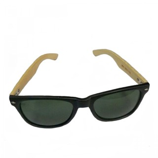 Generic Bamboo Frame Green Shade Sunglasses - Brown (LGGEN00001BRW-0004469)