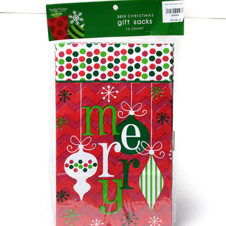 XMAS PAPER SACKS 10CT C (50009)