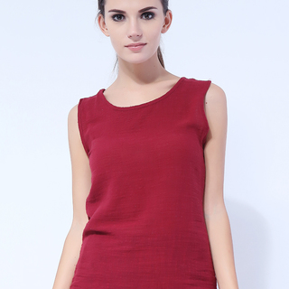 Generic Round Neck Hemp Sleeveless Tops - Red (LGGEN00001RED-0005503)