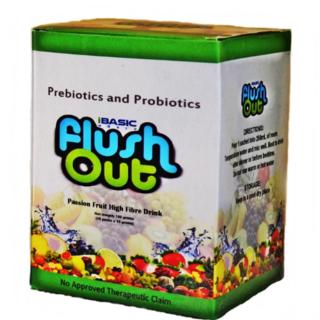FLUSH OUT Prebiotics & Probiotics Passion Fruit High Fiber Drink 150 grams (10 packs)