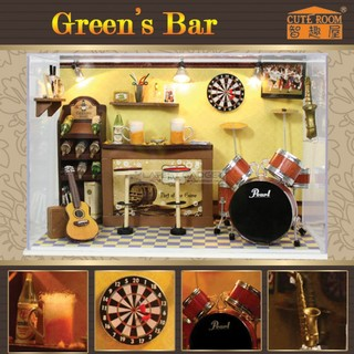 Cute Room Green's Bar Dollhouse 19.6*10*13.5CM