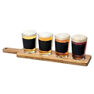 Pasabahce Chalk 4pc Beer Tester Set (w/ Tray&Chalk), 197cc 6 1/2 oz (41772)