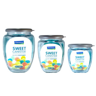 Glasslock 3pc Sweet Canister Set (Brown) (IG674BRW)