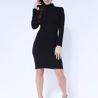 Janah longsleeve knit dress from Topmanila Clothing (Black)