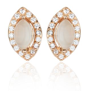 E-Rings Slate Cats Eye Rose Gold Earrings (ERG 00012-0110)