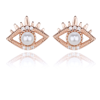 E-Rings Pearl Evil Eye Rose Gold Earrings (ERG 00011-0110)