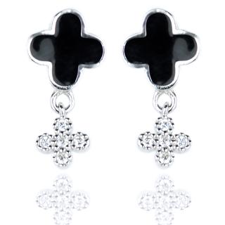 E-Rings Black Cross Drop Earrings (EDS 00130-0110)