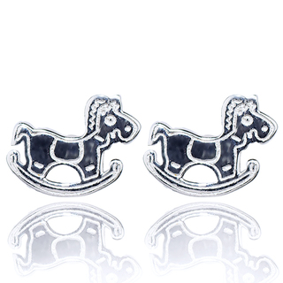 E-Rings Rocking Horse Stud Earrings (Silver) (ERR 00146-0110)