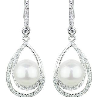 E-Rings Side by Side Drop Pearl Earrings (EDS 00074-0110)