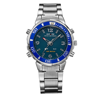 WEIDE ANALOG AND LED DIGITAL DISPLAY STAINLESS STEEL BAND STRAP WATCH WH843-3C-BLUE GREEN DIAL