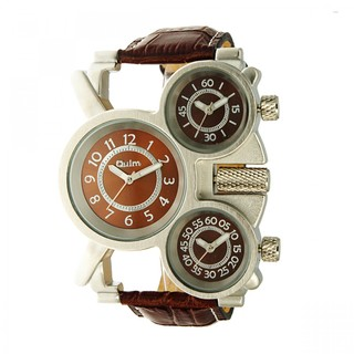 Oulm Three Time Display Quartz Military Army Sport Wrist Watch - Brown ( LGOLMHP116BRW-0003299)