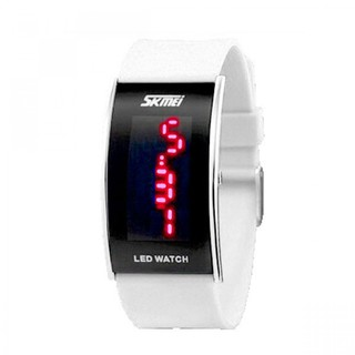 Skmei 30m Waterproof Red Light Led Watch - White (LGSKM00805WHT-0004294)