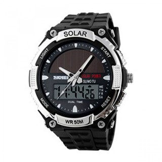 Skmei 50m Waterproof Dual Mode Watch Silver - Black (LGSKM01049BLK-0004312)