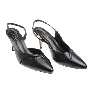 Janylin Pointed Low Sling Back Heels (7-3787-Black)